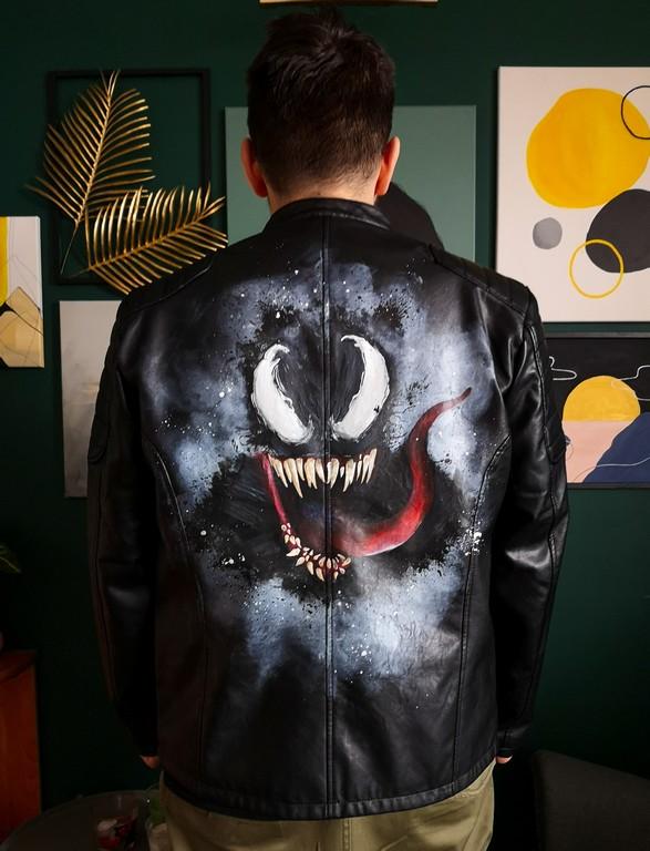 Ręcznie malowana kurtka jeansowa
