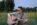 Chłopak z gitarą siedzący na trawie.